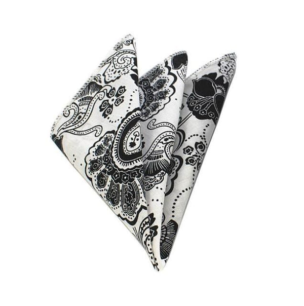 Floral Pocket Square - White