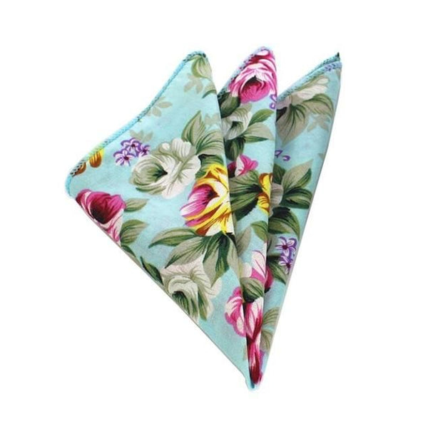 Floral Pocket Square - Light Blue