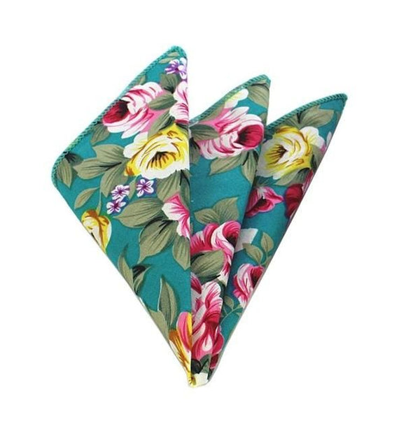 Floral Pocket Square - Turquoise