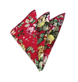 Floral Pocket Square - Red