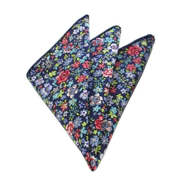 Floral Pocket Square - Blue/Purple