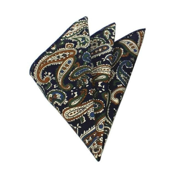 Floral Pocket Square - Dark Blue