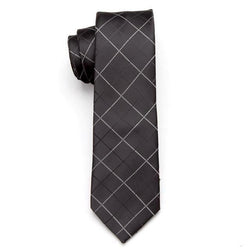 Skinny Business Tie - White Lines on Black