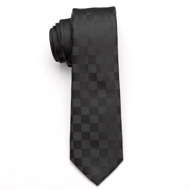 Skinny Business Tie - Black Squares on Black