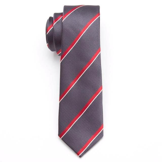 Skinny Business Tie - Red on Gray