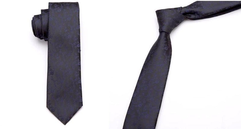 Skinny Business Tie - Blue on Black