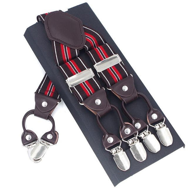 Casanova Suspenders - Red & Brown