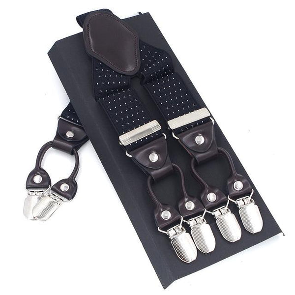Casanova Suspenders - Polka Dot Black