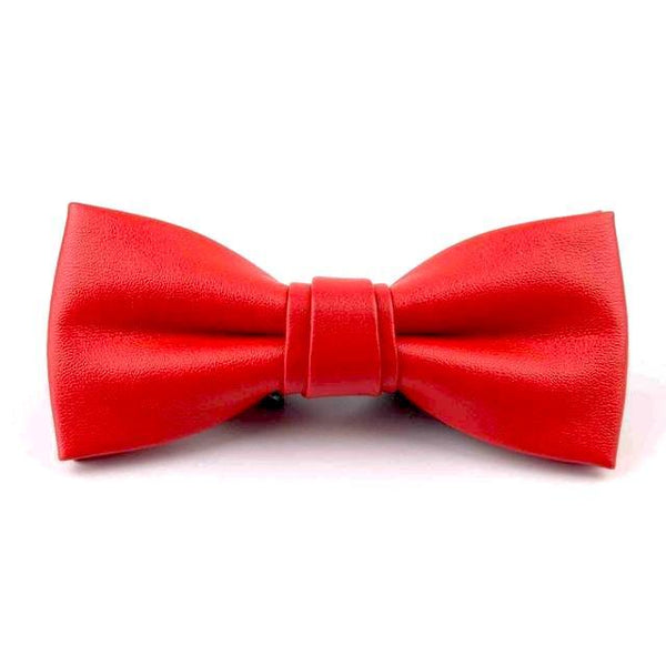 Leather Bowties - Living Red