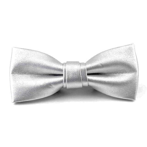 Leather Bowties - Silver