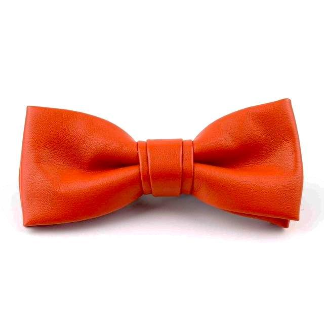 Leather Bowties - Orange Red
