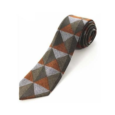 Cashmere Tie - Orange Triangles