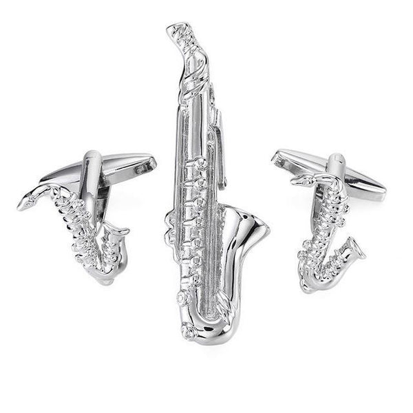 Tie Clip & Cuff Links - Silver Saxophone