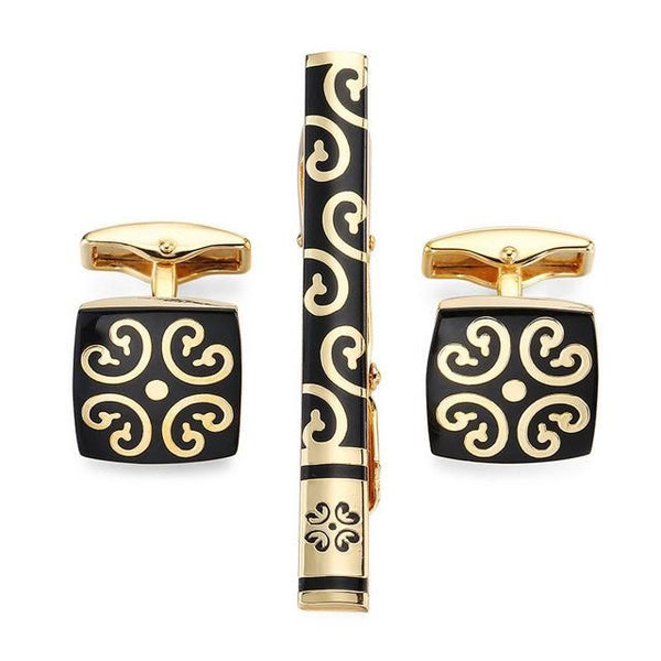 Tie Clip & Cuff Links - Gold Royalty