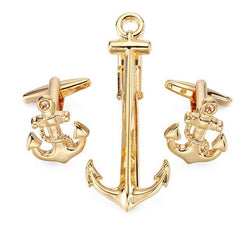 Tie Clip & Cuff Links - Big Gold Anchor