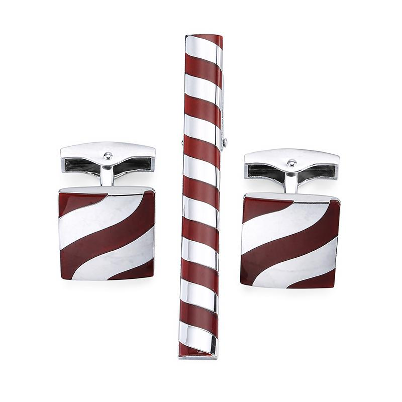 Tie Clip & Cuff Links - Candy cane
