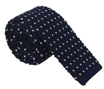 Knit Neckties-Navy Blue