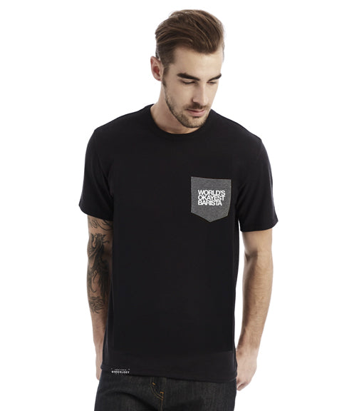 (EUROPE) World's Okayest Barista Pocket Tee - T-Shirt (Unisex)