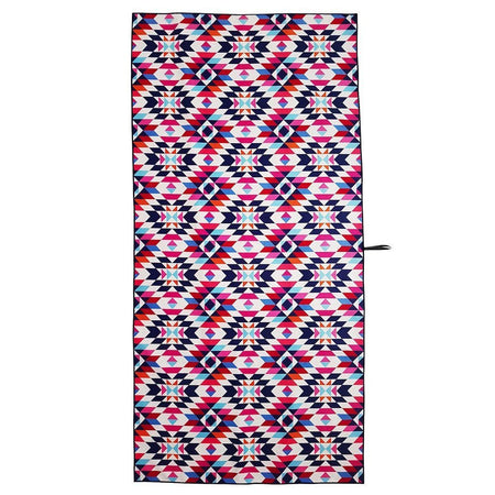 Since I Left You - beach towel with pink, purple, and blue geometric patterns