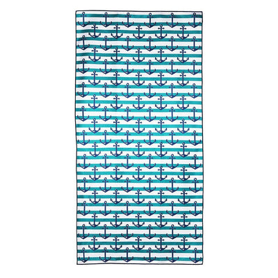Marooned - beach towel with anchors and white and green stripes