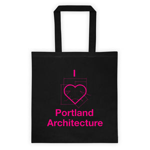 I ♡ Portland Architecture Tote Bag (Pink) - Small