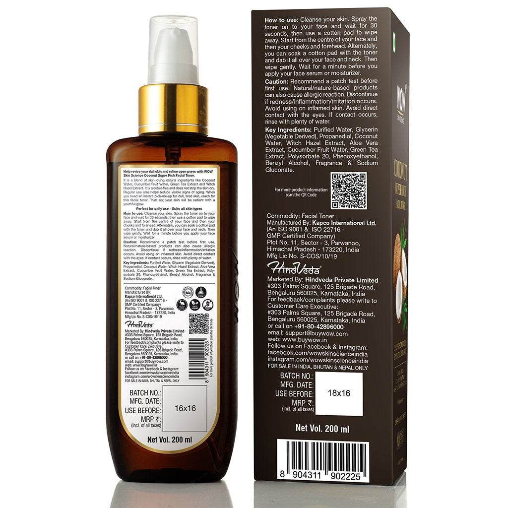 WOW Skin Science Coconut Super Rich Facial Toner - 200 ml - BuyWow