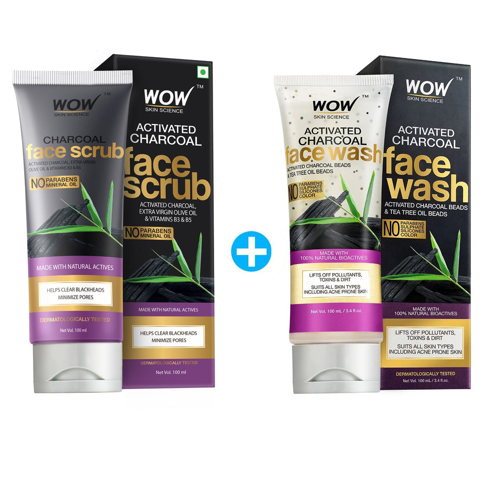 WOW Skin Science Activated Charcoal Face Scrub - 100 mL - BuyWow