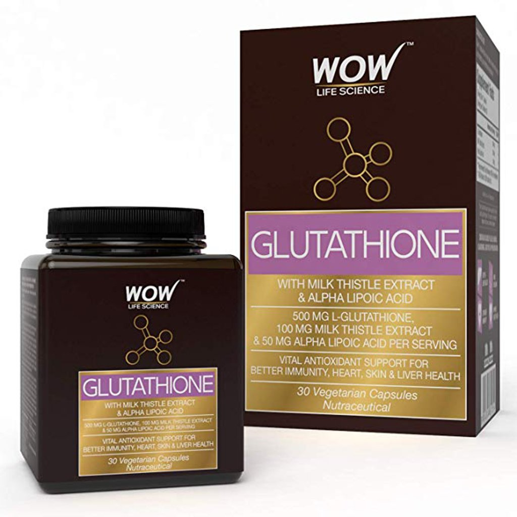WOW Life Science Glutathione with Milk Thistle Extract 500mg - 30 Vegetarian Capsules - BuyWow