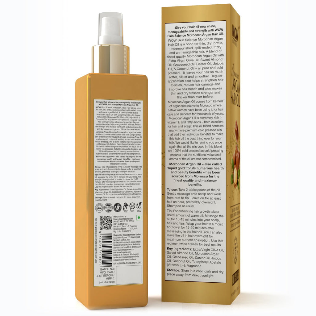 WOW Skin Science Moroccan Argan Hair Oil for Strong & Healthy Hair  - 200 mL - BuyWow