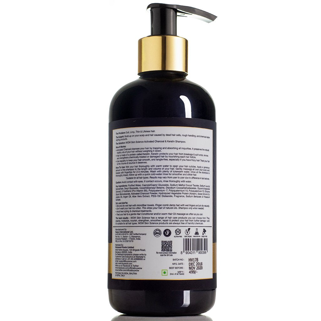 WOW Skin Science Activated Charcoal & Keratin Shampoo - 300mL - BuyWow