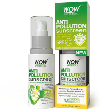 WOW Skin Science Anti Pollution Sunscreen Water Resistant Sunscreen Lotion - 100 ml