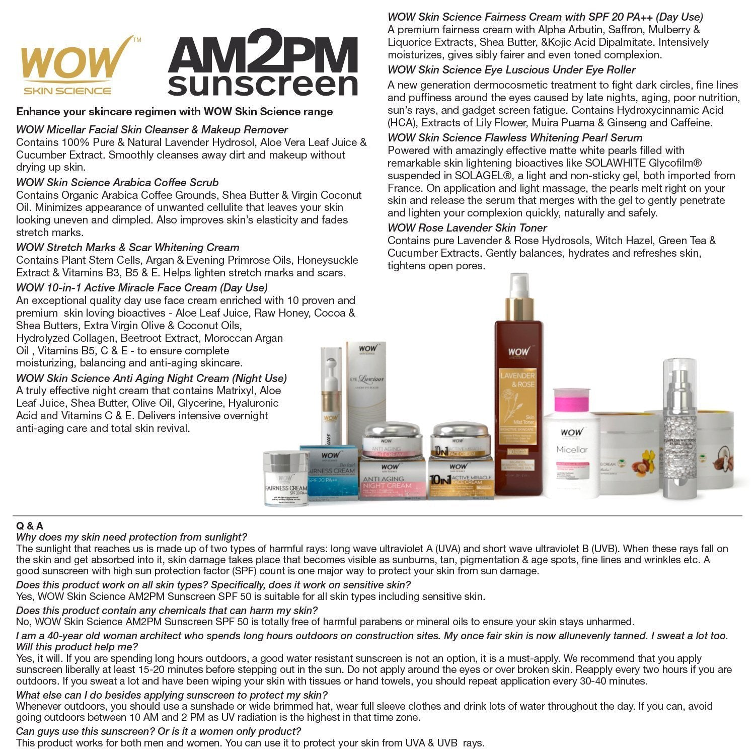 WOW Skin Science AM2PM Sunscreen SPF-50 - 100 ml