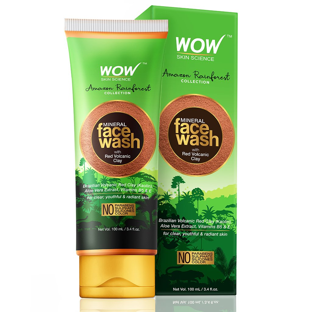 WOW Skin Science Amazon Rainforest Collection - Mineral Face Wash with Red Volcanic Clay - No Parabens, Sulphate, Silicones and Color, 100 ml - BuyWow