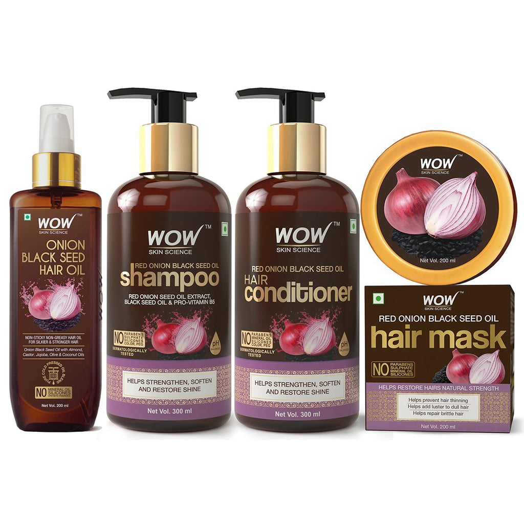 WOW Skin Science Onion Black Seed Oil Hair Care Ultimate 4 Kit (Shampoo + Hair Conditioner + Hair Oil + Hair Mask) - 1000 ml - BuyWow
