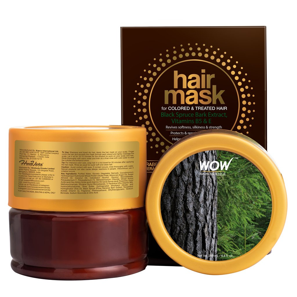 WOW Skin Science Hair Mask for Colored & Treated Hair with Black Spruce Bark Extract, Vitamin B5 & E - 200 mL - BuyWow