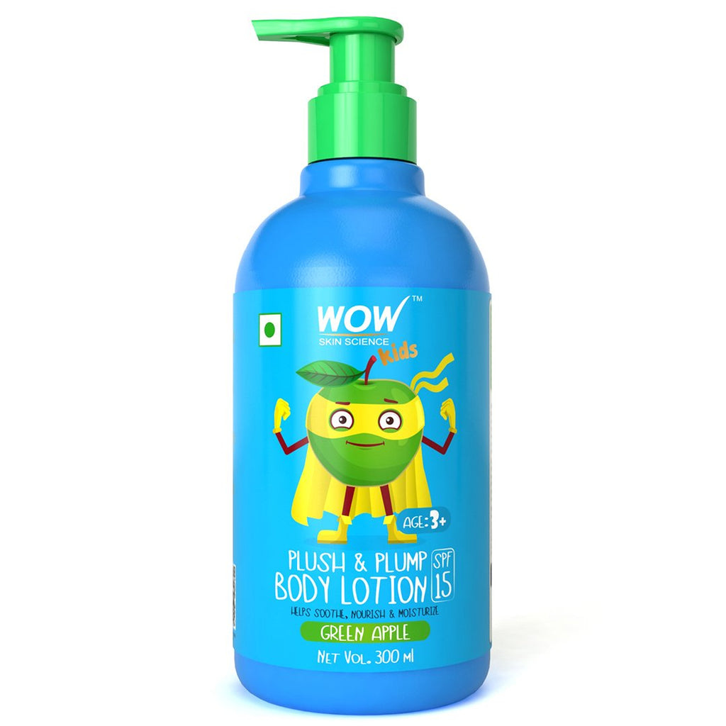 WOW Skin Science Kids Plush & Plump Body Lotion - Green Apple - SPF 15 - No Parabens, Mineral Oil, Silicones & Color - 300mL - BuyWow