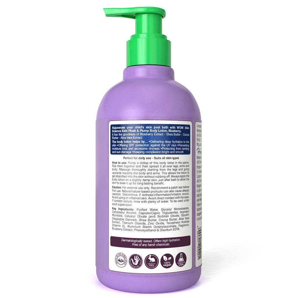 WOW Skin Science Kids Plush & Plump Body Lotion - Blueberry - SPF 15 - No Parabens, Mineral Oil, Silicones & Color - 300mL - BuyWow