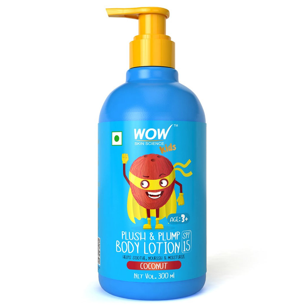 WOW Skin Science Kids Plush & Plump Body Lotion - Coconut - SPF 15 - No Parabens, Mineral Oil, Silicones & Color - 300mL - BuyWow