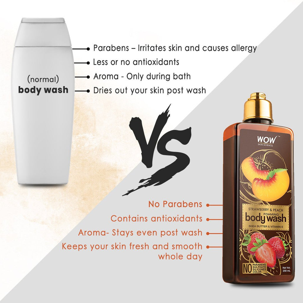 WOW Skin Science  Strawberry & Peach & Foaming Body Wash - 250 mL - BuyWow