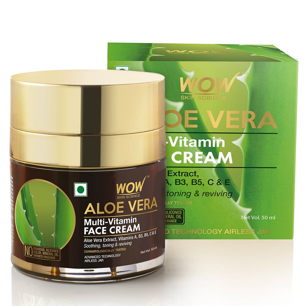 WOW Skin Science Aloe Vera Multi-Vitamin Face Cream - Light Quick Absorbing - For Normal to Oily Skin - No Parabens, Silicones, Color, Mineral Oil & Synthetic Fragrance - 50mL - BuyWow