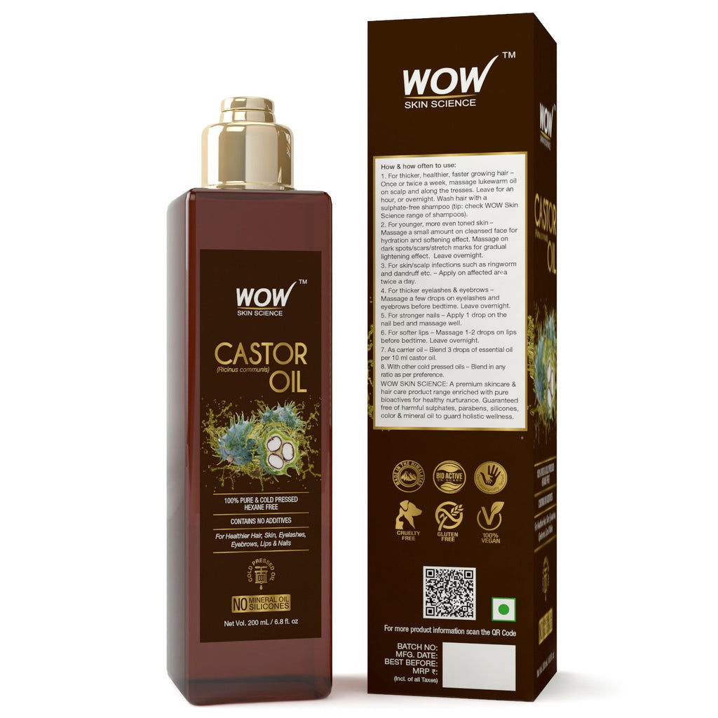 WOW Skin Science 100% Pure Castor Oil - Cold Pressed - For Stronger Hair, Skin & Nails - 200 mL - BuyWow