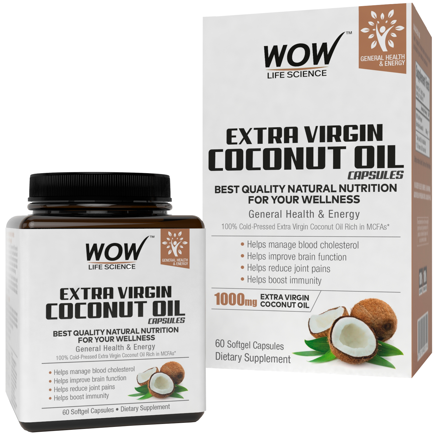 WOW Life Science Extra Virgin Coconut Oil Capsules