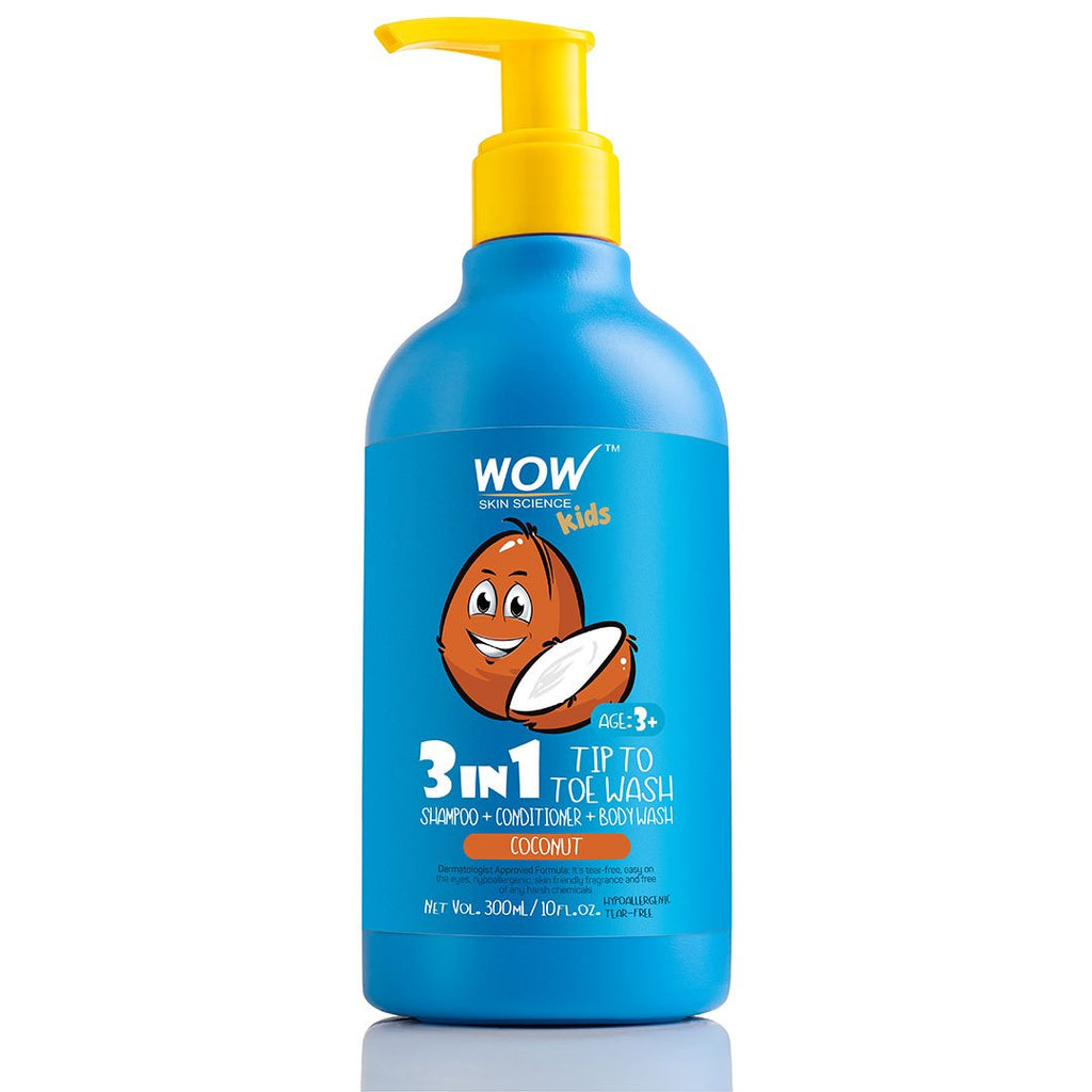 WOW Skin Science Kids Coconut 3 in 1 Tip to Toe Wash - Shampoo + Conditioner + Bodywash - 300 mL - BuyWow