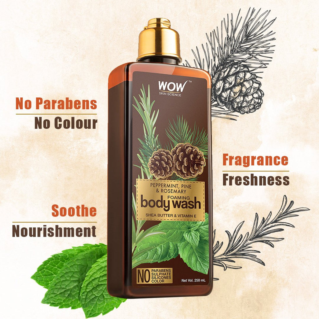 WOW Skin Science  Peppermint, Pine & Rosemary Foaming Body Wash - 250 mL - BuyWow