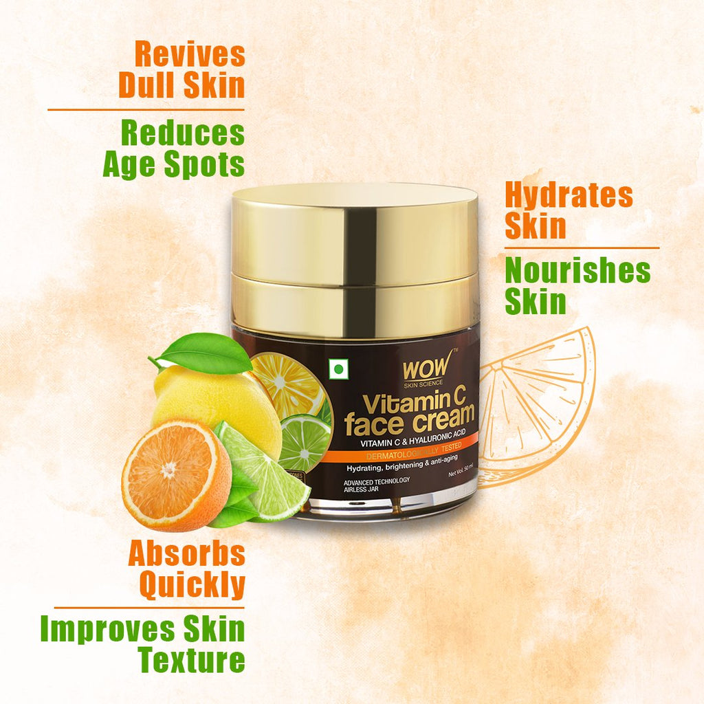 WOW Skin Science Vitamin C Face Cream for Radiant Skin- Oil Free, Quick Absorbing - For All Skin Types - No Parabens, Silicones, Color, Mineral Oil & Synthetic Fragrance - 50mL - BuyWow