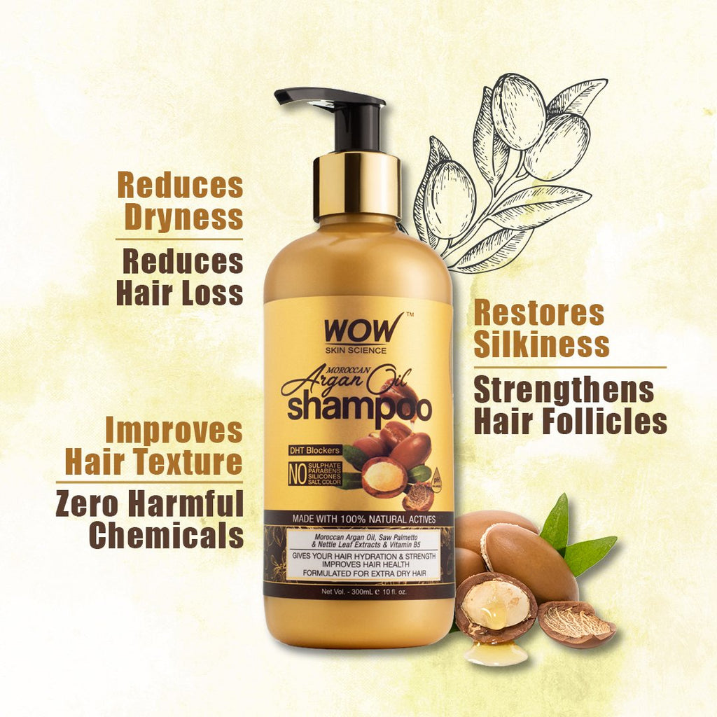 WOW Skin Science Moroccan Argan Oil Shampoo (with DHT Blocker) - 300 mL - BuyWow