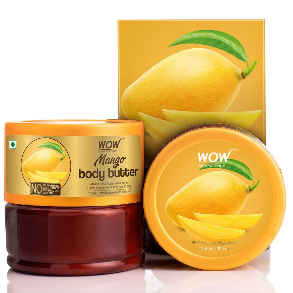 WOW Skin Science Mango Body Butter - No Parabens, Silicones, Mineral Oil & Color - 200mL - BuyWow