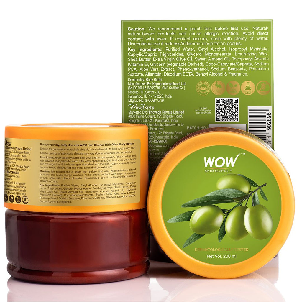 WOW Skin Science Rich Olive Body Butter - No Parabens, Silicones, Mineral Oil & Color - 200mL - BuyWow