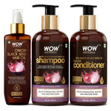 WOW Skin Science Onion Black Seed Hair Oil - Controls Hair Fall - No Mineral Oil, Silicones & Synthetic Fragrance - 200mL - BuyWow