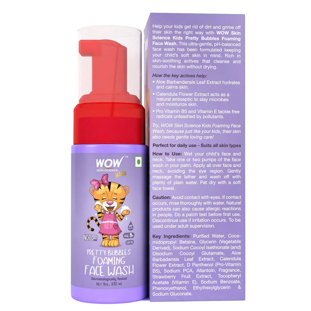 WOW Skin Science Kids Pretty Bubbles Foaming Face Wash - No Tears Formula - 100 mL - BuyWow